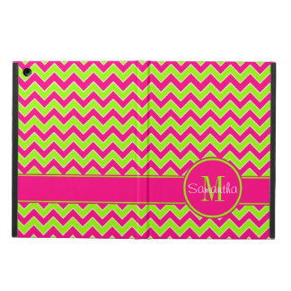 Lime Green w/ Pink Chevron Pattern Custom Monogram iPad Air Covers