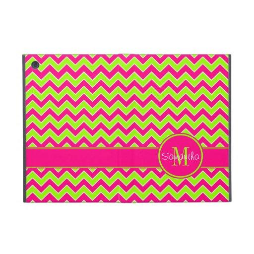 Lime Green w/ Pink Chevron Pattern Custom Monogram iPad Mini Cover