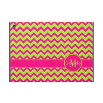 Lime Green w/ Pink Chevron Pattern Custom Monogram iPad Mini Case