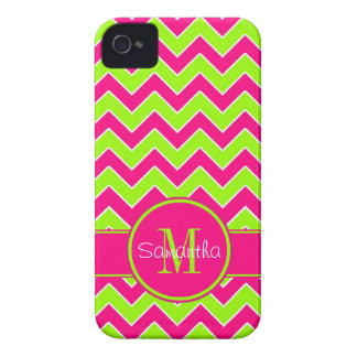 Lime Green w/ Pink Chevron Pattern Custom Monogram iPhone 4 Case-Mate Case