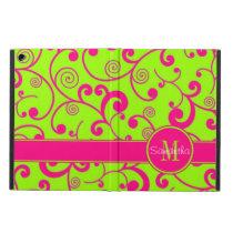 Lime Green w/ Pink Scroll Design Custom Monogram iPad Air Case