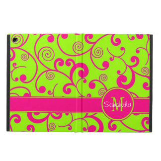 Lime Green w/ Pink Scroll Design Custom Monogram iPad Air Case