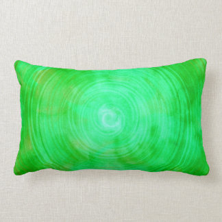 Lime Green Watercolor Circle Abstract Background Lumbar Pillow