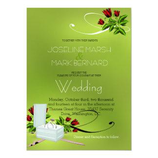 Lime Green Wedding Bands Roses Wedding Invitation