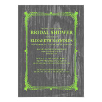 Lime Green Western Barn Wood Bridal Shower Invites
