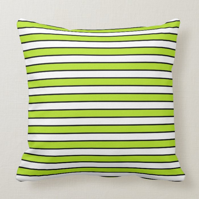 Black White And Green Throw Pillows : Lime Green, White and Black Stripes Throw Pillow Zazzle