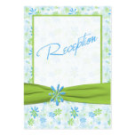 Lime Green,White, and Blue Floral Enclosure Card Business Card Templates