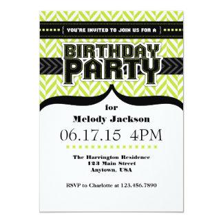 Lime Green White Black Herringbone Birthday Invite