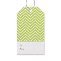 Lime Green White Chevron Modern Gift Tags