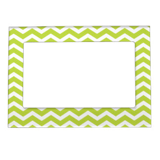 Lime Green White Chevron Pattern Magnetic Picture Frame