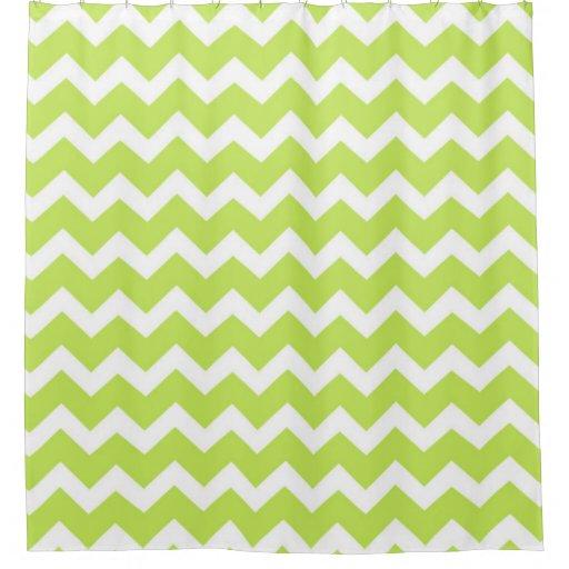 Lime Green White Chevron Stripes Shower Curtain | Zazzle