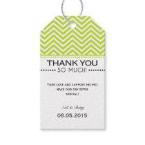 Lime Green White Chevron Wedding Thank You Tags