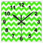 Lime Green White Chevron Zig-Zag Pattern Clock