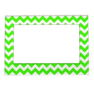 Lime Green White Chevron Zig-Zag Pattern Magnetic Frames