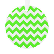 Lime Green White Chevron Zig-Zag Pattern Ornament