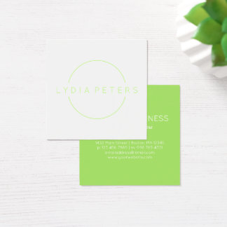 Lime Green & White | Clean Square Business Card