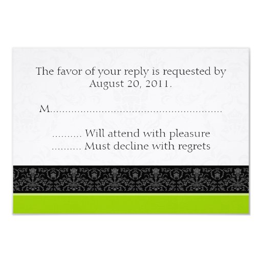 Lime Green & White Damask Wedding RSVP Reply Cards