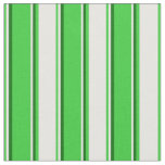 [ Thumbnail: Lime Green, White & Dark Green Stripes Fabric ]