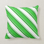 [ Thumbnail: Lime Green, White & Dark Green Stripes Pillow ]