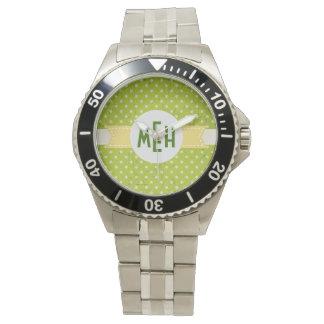 Lime Green White Dots Custom Monogram Watch