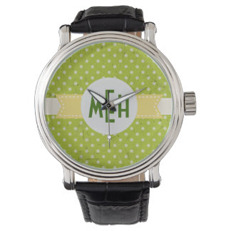Lime Green White Dots Monogram Watch