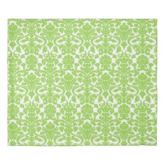 Lime Green White Floral Damask Duvet Cover