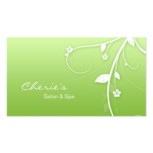 Lime green White Floral Swirls business card