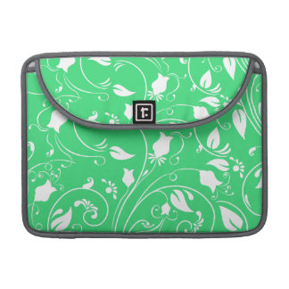 Lime Green, White Floral Swirls; Flowers Sleeve For MacBook Pro