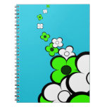 Lime Green & White Flowers Notebook Notebooks