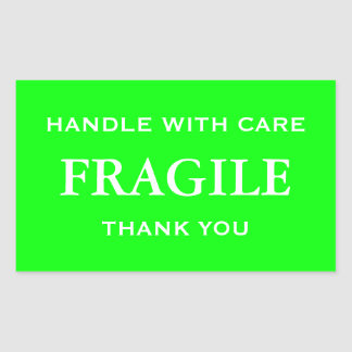 Lime Green/White Fragile. Handle with Care. Rectangular Sticker