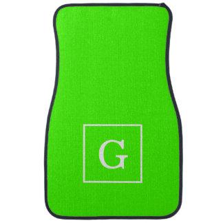 Lime Green White Framed Initial Monogram Car Floor Mat