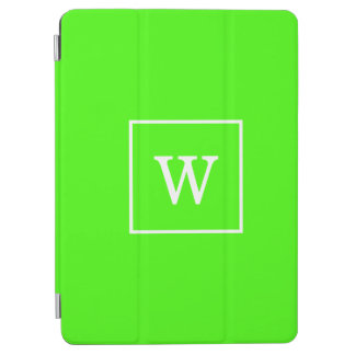 Lime Green White Framed Initial Monogram iPad Air Cover