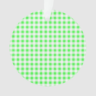 Lime Green White Gingham Pattern