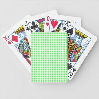 Lime Green White Gingham Pattern Bicycle Playing Cards