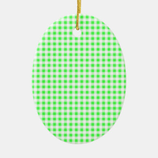 Lime Green White Gingham Pattern Christmas Tree Ornaments
