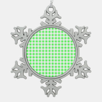 Lime Green White Gingham Pattern Ornament