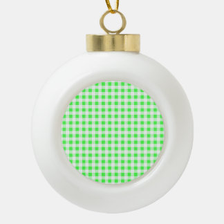 Lime Green White Gingham Pattern Ornaments