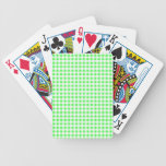 Lime Green White Gingham Pattern Bicycle Poker Deck