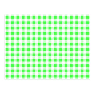 Lime Green White Gingham Pattern Postcard