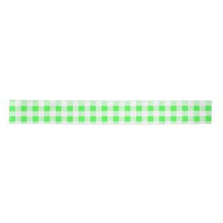 Lime Green White Gingham Pattern Satin Ribbon