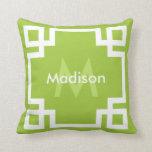 Lime Green White Greek Key Monogram Pillow