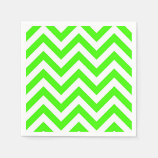 Lime Green White Large Chevron ZigZag Pattern Paper Napkin