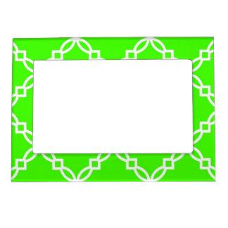 Lime Green White Large Fancy Quatrefoil Pattern Photo Frame Magnets