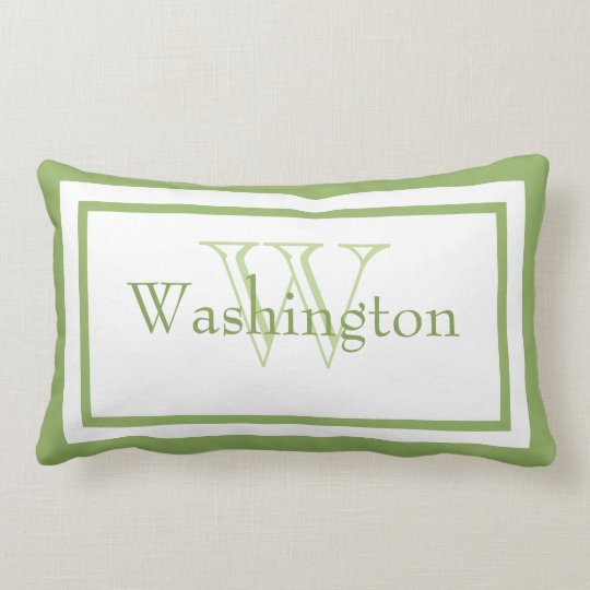 Lime Green/White Monogram Name Keepsake Pillow