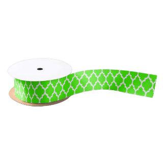 Lime Green White Moroccan Quatrefoil Pattern #4 Satin Ribbon