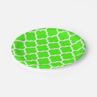 Lime Green White Moroccan Quatrefoil Pattern #5 Paper Plate