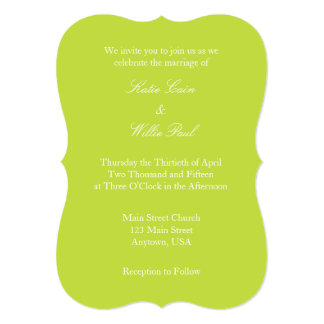 Lime Green White Plain Simple Wedding Invitation