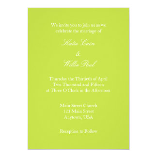 Lime Green White Plain Simple Wedding Invitation
