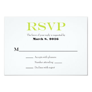 Lime Green White Plain Simple Wedding RSVP Cards