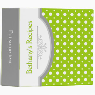 Lime green white polka dots with frame recipe binders